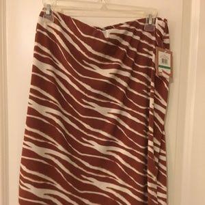 Ellen Tracy NWT brown/white animal print skirt Lge
